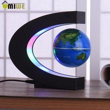 EU Plug C Shape LED World Map Floating Globe Tellurion Magnetic Levitation Light World Map Home Decoration Kids Birthday Gift