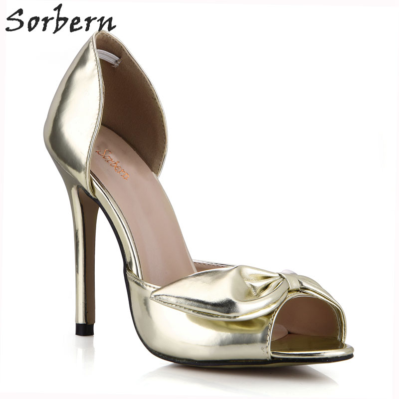 Sorbern Silver Glitter Women Pump High Heels Gold Shoes Heels Bridal Shoes Heels Platform Open Toe Slip On Shoes Women Pump Diy цены онлайн