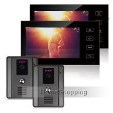 FREE SHIPPING Apartment Intercom 7″ Touch Color Screen Video Doorphone Intercom + 2 700TVL Doorbell Camera + 2 Monitor IN STOCK