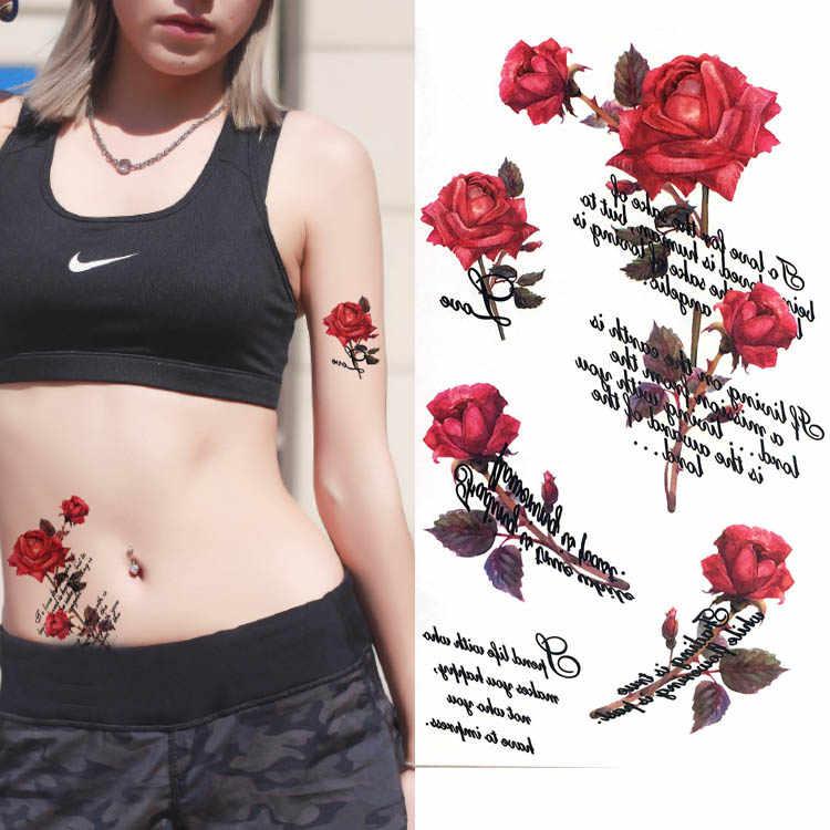 Inglés colorido mariposa flor cuerpo arte Sexy Rosa