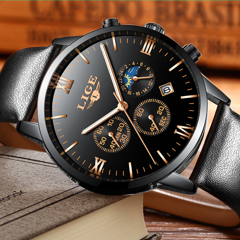 Men Watches Fashion Brand LIGE Multi-Function Mens Sport Quartz Watch Man Waterproof Leather Business Male Analog Wristwatch multi function watch fashion men s leather quartz watch