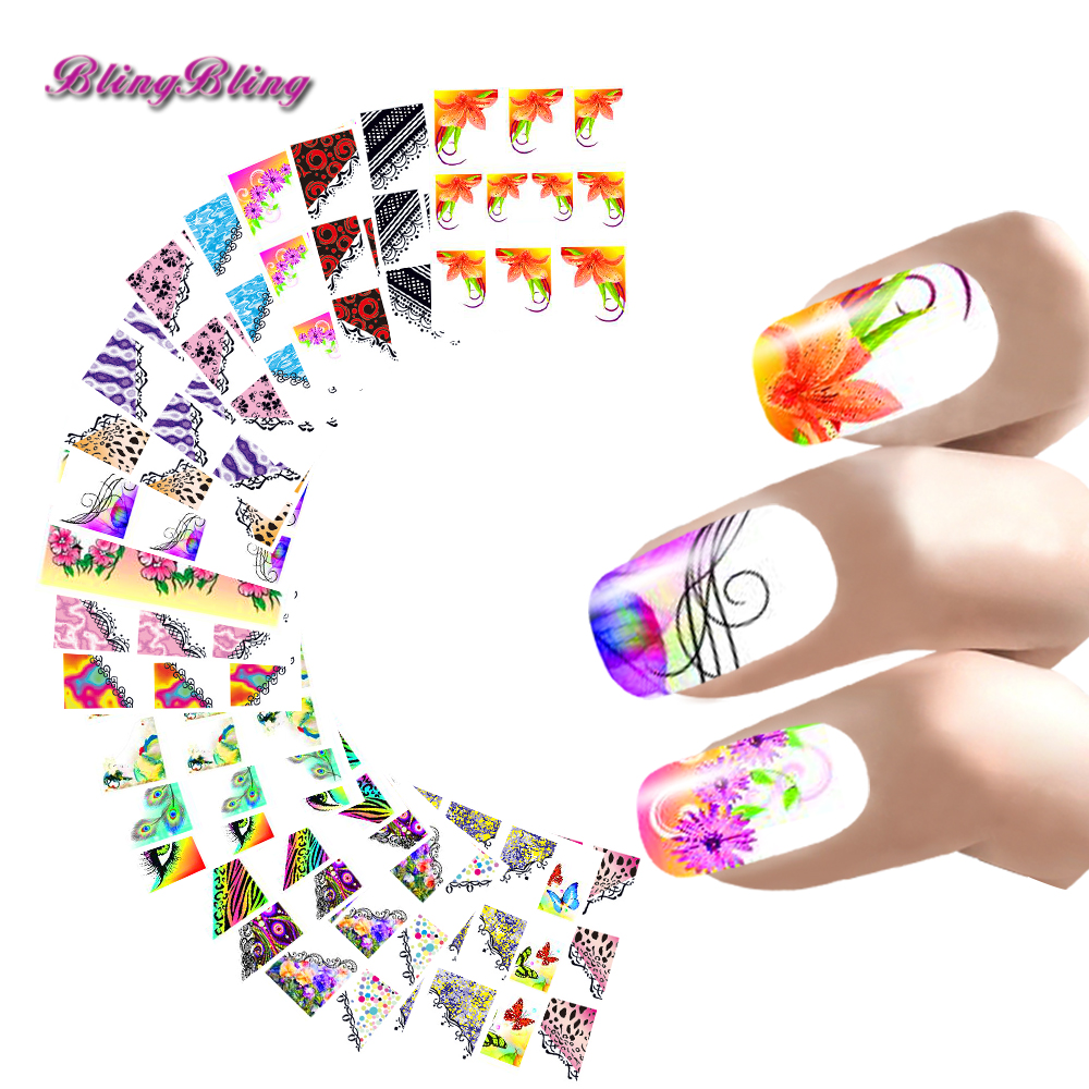 22 Style Nail Sticker French Manicure Water Decals Half Nail Wraps Flower Butterfly Peacock Leopard Pattern For Nails Art Design bk bkp008 french style 100 in 1 flower handle abs nail sticker set black