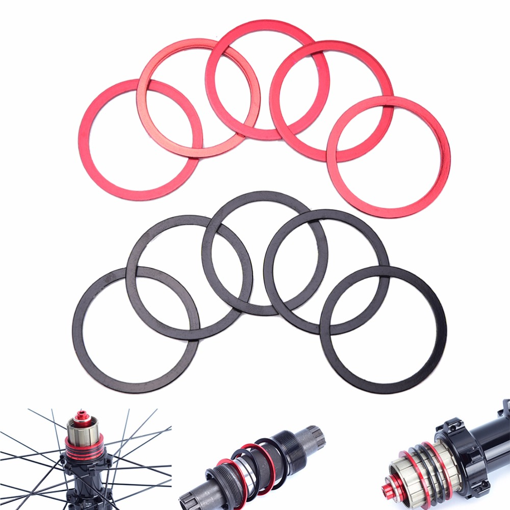 New 5Pcs 2mm Mountain Bikes Flywheel Washer Bottom Bracket Center Axis MTB Alluminium Alloy Bicycle Hub Spacer Gasket Spacer