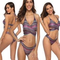 2019 lato Sexy kobiety wyściełane biustonosz push-up biustonosz zestaw Swimmingsuit stroje kąpielowe drukuj kostium kąpielowy strój kąpielowy 2