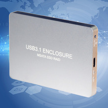 USB 3.1 Type-C To 2 Ports Msata SSD Raid Box Case 10GB External Hard Drive Disk Box LR31-1352S For Univesal Computers