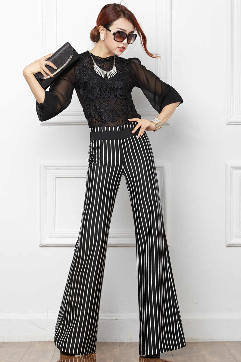 2019 Spring and Autumn New Black and White Vertical Stripes Wide Leg Pants Casual Female Long Pants Drape Slim Trousers Women