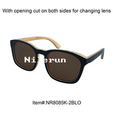 new style large black painted bamboo sunglasses