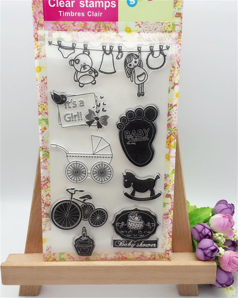 baby things design Clear Silicone Rubber Stamp for DIY scrapbooking photo album Decorative craft for Christmas gift CL-267 about lovely baby design transparent clear silicone stamp seal for diy scrapbooking photo album clear stamp paper craft cl 052