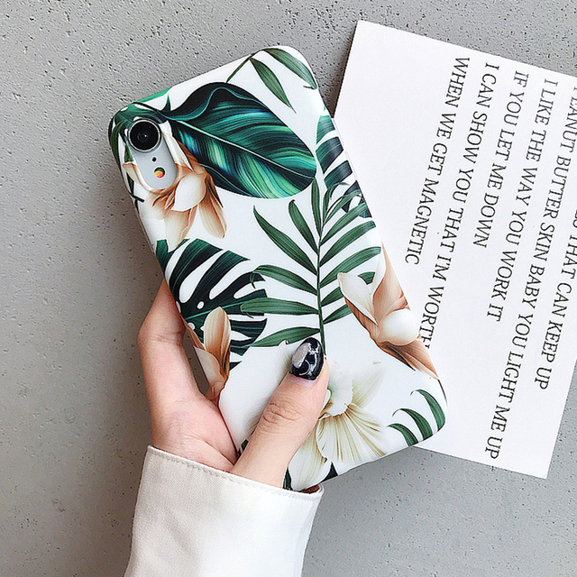 Hot Art Flowers & Banana Leaf Phone Case For iPhone 12 Mini 11 Pro Max XR XS Max 6 7 8 Plus X  Soft IMD Phone Back Cover Cases 1