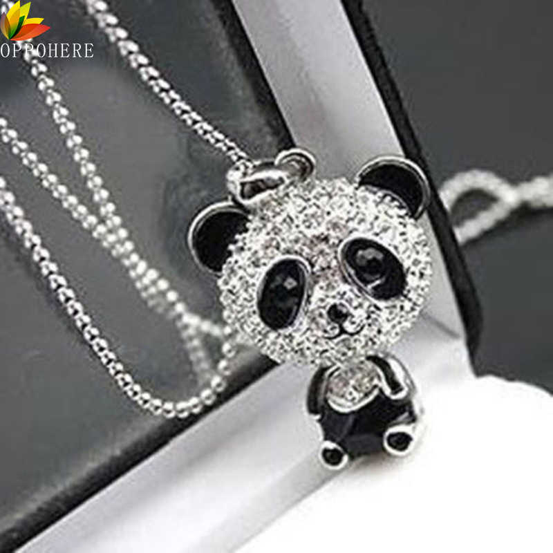 OPPOHERE Classical Women's Rhinestone Moving Head Panda Pendant Sweater Chain Necklace For Women Charm Necklace Jewelry