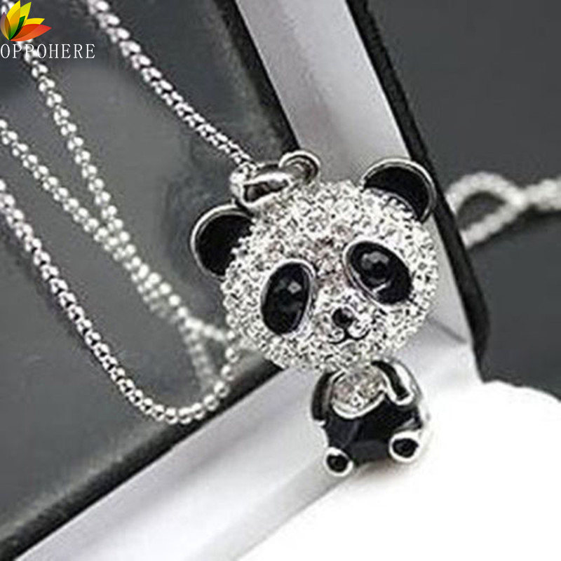 Classical Women's Rhinestone Moving Head Panda Pendant Sweater Chain Necklace