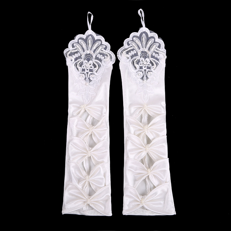 Free Size Ivory Fingerless Bridal <font><b>Gloves</b></font> Elbow Appliqued Pearls Luvas De Noivas Baratas Stain Long <font><b>Gloves</b></font>