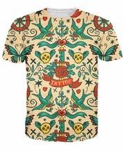 цена на 2015 New Arrive Fashion Clothing Unisex Women Men Tattoo T-Shirt Bold traditional tattoos t shirt tees Tops Plus Size