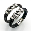 New Arrival Men Stainless Steel Bracelet Byzantine Style Men Jewelry Accessories Male Leather Charm Wristband pulseira