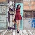 Nuevas adquisiciones 2016 vestidos de las mujeres summer dress fashion sexy red negro gris o cuello sin mangas mini breves vestidos de las señoras