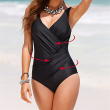 Plus Size M-4XL 2016 New One Piece Swimsuit Women Print Polka Dot Swimwear Retro Bathing Suits Beachwear Padded Swimming Wear