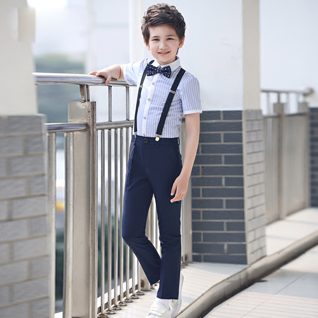 4 pcs/ensemble de mode Enfants de vêtements ensembles rayé chemises formelles shorts noir costumes jarretelles pantalon étudiant vêtements pour garçons 4