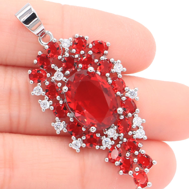 Fantastic Long Red Blood Ruby White CZ Womans Silver Pendant 48x21mmFantastic Long Red Blood Ruby White CZ Womans Silver Pendant 48x21mm