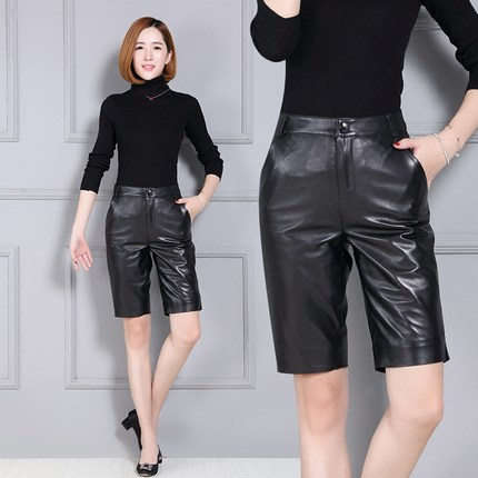 2019 New High Waist Slim Sheepskin   Shorts   K11