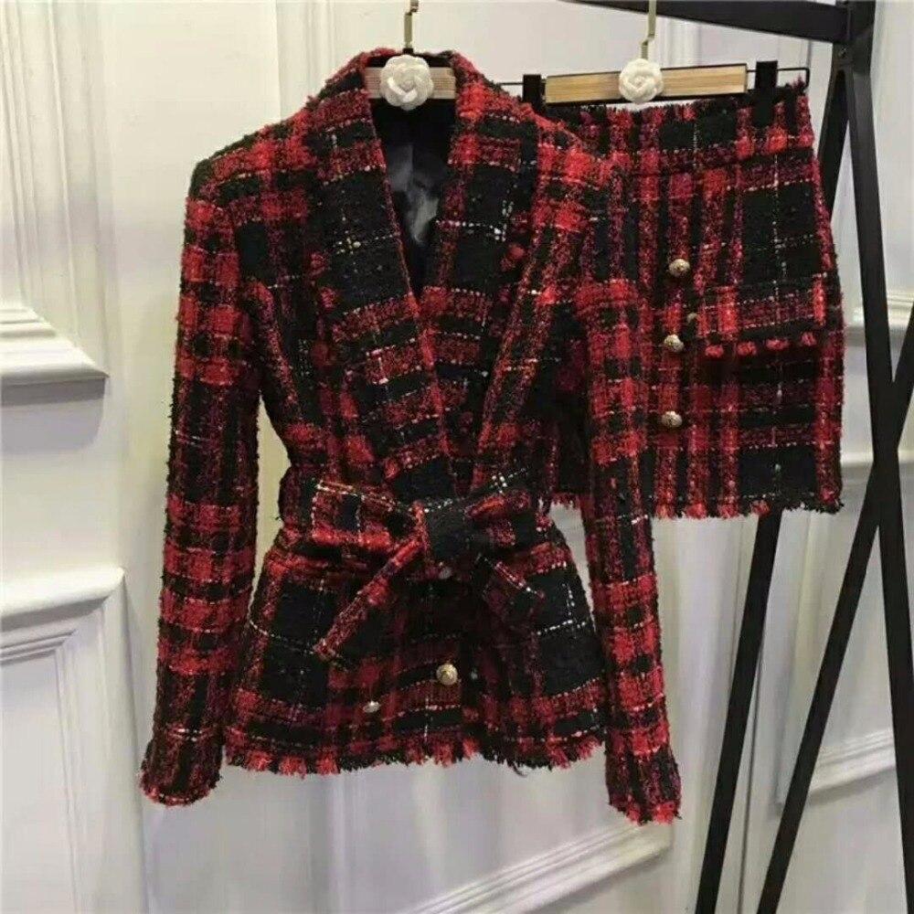 Style européen élégant vêtements femmes printemps 2018 offre spéciale Plaid veste rouge noir Blazer gland bureau dame jupe ensemble