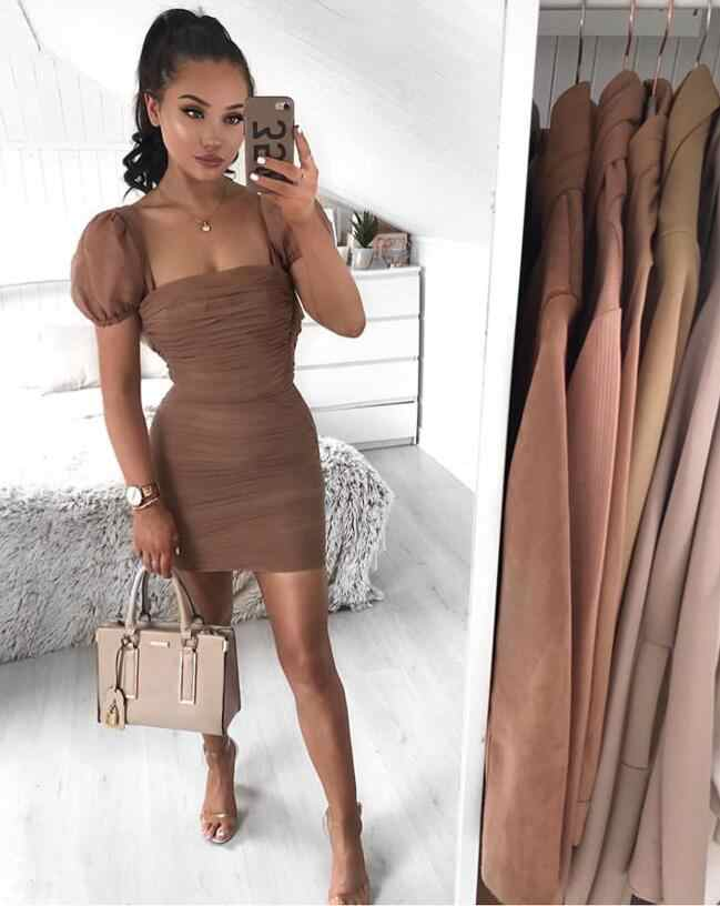 Летнее платье Для женщин 2019 Новый модные, пикантные сетчатые Бандажное платье дизайнерские мини знаменитостей вечерние платья