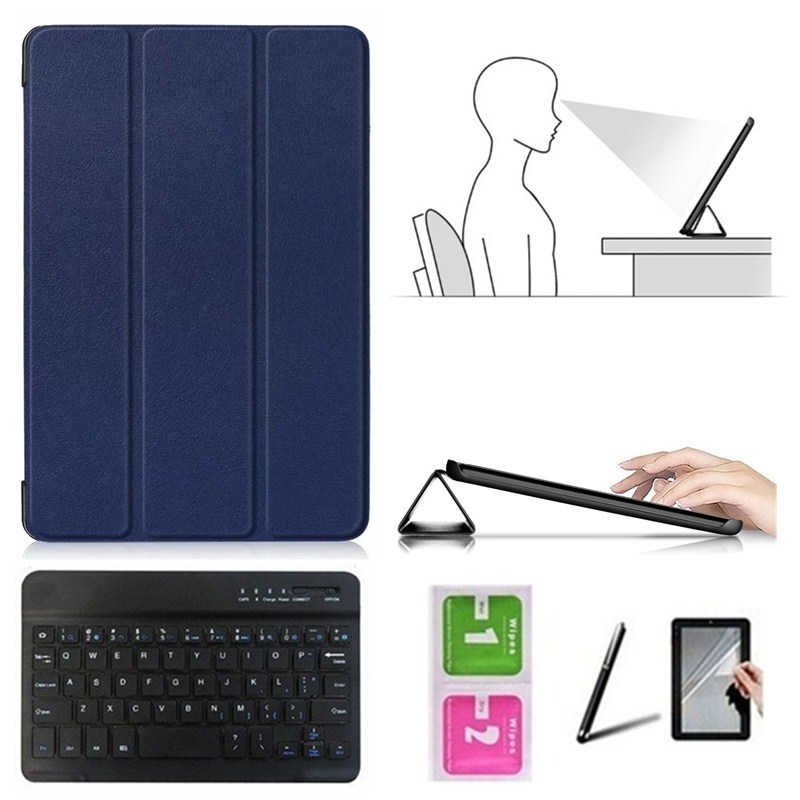 Accessory Kit For Huawei Mediapad M5 10.8 Inch CMR-AL09/CMR-W09 - Smart Case+Bluetooth Keyboard+Protective Film+Stylus Pen