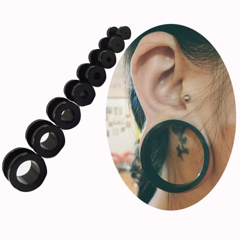 2pcs Choose Size 2 12mm Black Uv Acrylic Ear Gauges Plugs Flesh Tunnels Double Flared