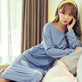 2017 Female Long Sleeved Cotton Nightgown Spring And Autumn Women Home Wear Clothing Sleepwear Lounge Lady Girl Nightshirt