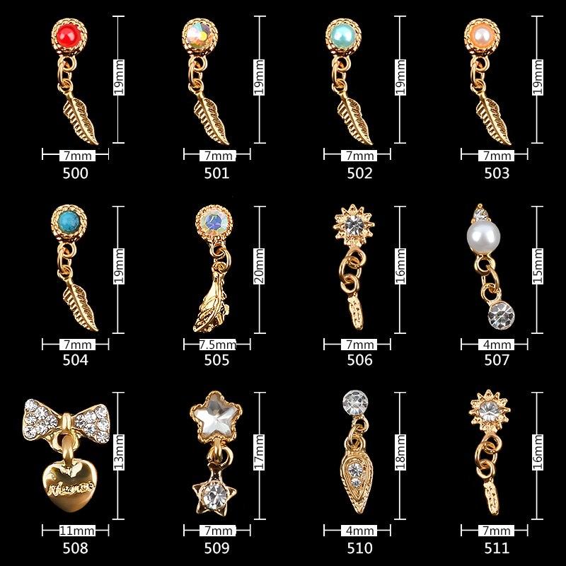 10 шт. роскошные золотые сплава ногтей стразами Шарм Pearl Jewelry 3d Мода Лук Сердце перо кулон украшения маникюрные инструменты