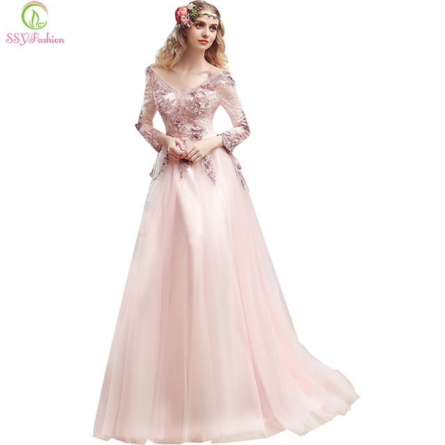 New SSYFashion Long Evening Dress Bride Sweet Pink Lace Appliques  Long-sleeved Floor-length V-neck Elegant Prom Dress Party Gown f034cd032f84
