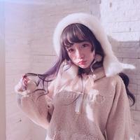 Princess sweet lolita Hoodies Bobon21 do a little cute adorable bear ear soft hooded embroidery hoodies coat can be lamb T1562
