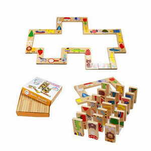 28 pcs High Quality Animals Playing Solitaire Games Domino Wooden Jigsaw Puzzle Baby Educational Toys for Children