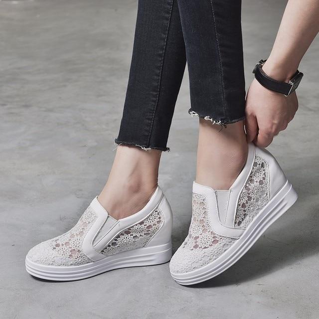 Moxxy 2018 Fashion Summer Wedge Heels Women Shoes Hollow Floral Platform  Women s Casual Shoes Female Footware aaeb47bda499