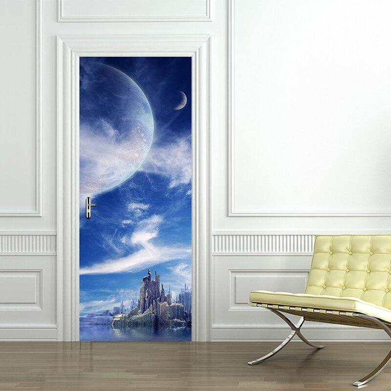 2pcs/set 200*77cm Creative 3D Door Stickers DIY Self Adhesive Bedroom Home Decor Poster Waterproof Natural View Door Wallpapers