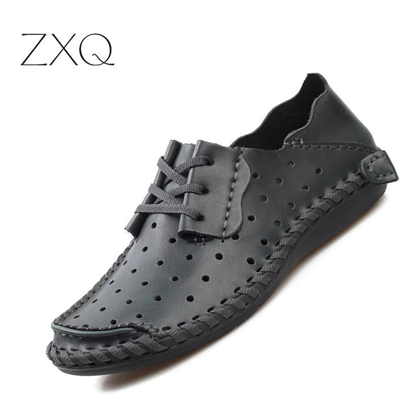 Plus Size 38-48 Genuine Leather Men Shoes Flats Oxford Shoes For Men Breathable Hollow Out Summer Loafer Casual Shoes