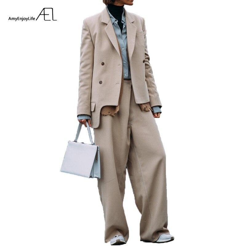 EAL Мода Широкие брюки костюмы комплект из 2 предметов для женщин двубортный пиджак и брюки асимметричный подол костюм Feminino 2018