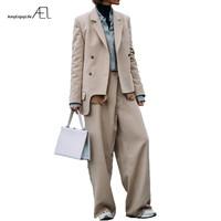 EAL модные широкие брюки костюмы комплект из 2 частей для женщин двубортный Блейзер куртка и брюки Асимметричная мужской костюм Feminino 2018