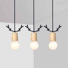 Nordic Antler Wood Pendant Lights Modern Northern American Art Decor Wrought Black Oak Lamp For Kids Dining Room Living