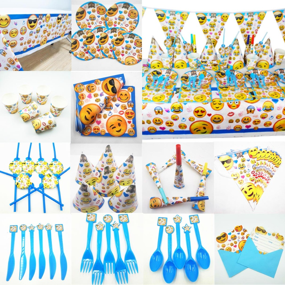 Emoji Kids Birthday Party Supplies Decoration Set Tablecloth Cup Plate Straw Napkin Cap Gift Bag Candle Candy Popcorn Box Card