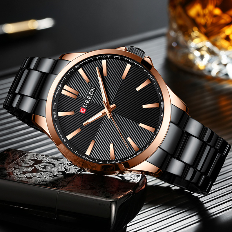 Curren Mens Watch Gold Black Quartz Men's Watches Top Brand Luxury Waterproof Men Watch Stainless Steel Male Clock Wristwatch(China)