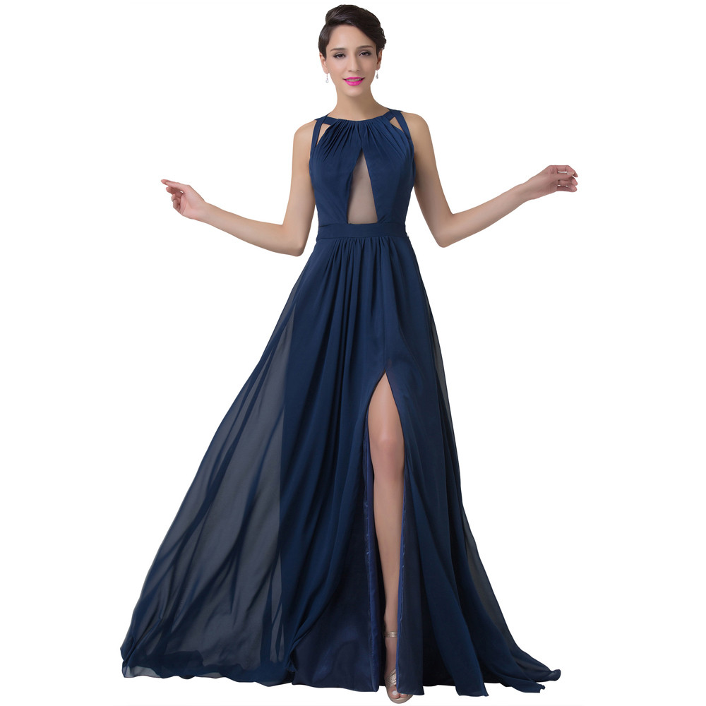Grace Karin Navy Blue Evening Dress Women Fashion Backless Split Special Long Evening Gown Elegant Special Occasion Dress 2017 7