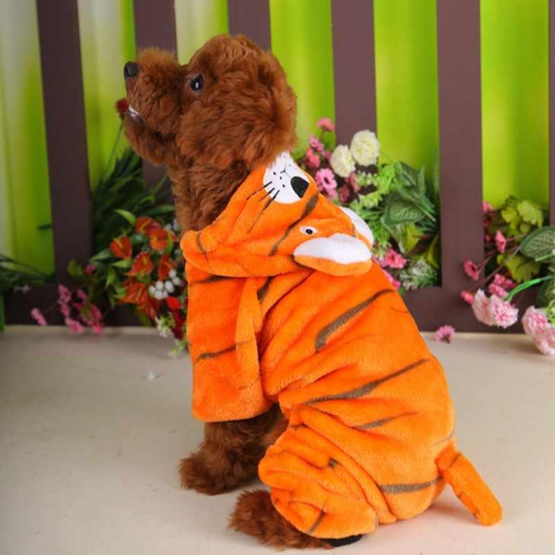 Хэллоуин кошка собака Костюмы Тигр Зима собака щенок куртка пальто хлопок Мягкий комбинезон золотистый ретривер большая собака одежда