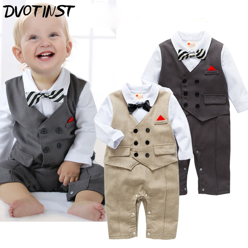 Baby Boy Clothes Full Sleeves Gentleman Grey Kakhi Rompers Outfit Infantil Toddler Jumpsuit Party Event Wedding Costume Clothing nyan cat baby boy clothes short sleeves gentleman bow tie vest romper hat 2pcs set outfit jumpsuit rompers party cotton costume