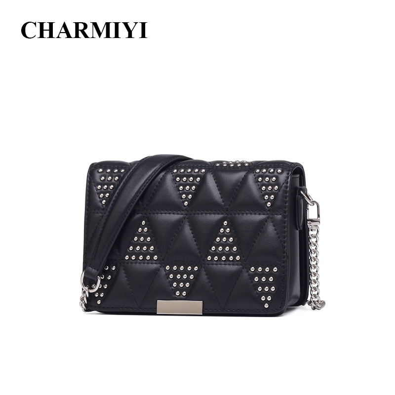 CHARMIYI New Arrival Rivet Small Cow Leather Women Messenger Bags Cover Female OL Shoulder Crossbody Bag High Quality Lady Bag spring new elegant leather women handbag smooth skin lady shoulder bags female small casual totes cover zipper crossbody packs