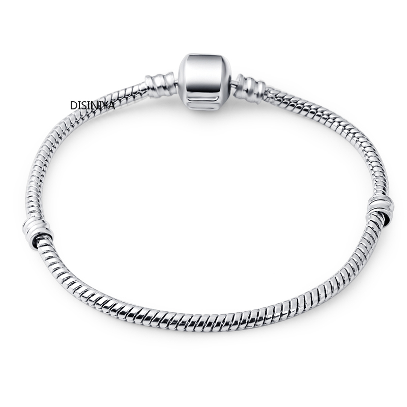 DISINIYA 3 Style Silver Snake Chain Bracelet Fit Authentic Bracelet Bangle Chain Charms Bracelet Women Jewelry Accessories Gift in Chain Link Bracelets from Jewelry Accessories