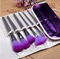 Profesional 16 Unids Púrpura Cosmético de los Cepillos del sistema de Cepillo con Estuche de Cuero, Envío de la gota