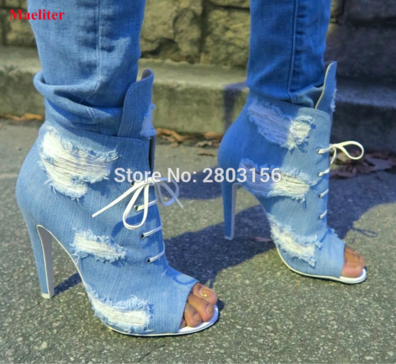 Newest Peep Toe Denim Thin High heels Lace Up Cut-outs Sandal Boots Fashion Women Gladiator Shoes Short Ankle Booties newest design retro peep toe booties