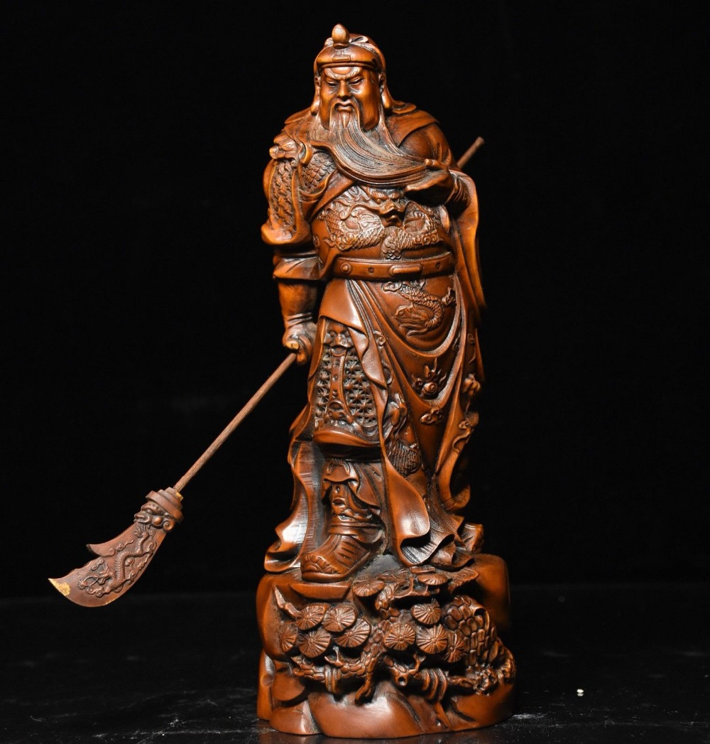 Crafts statue Chinese Boxwood Wood Carved Stand Dragon Warrior GuanGong GuanYu God Statue Set
