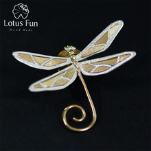 Lotus Fun Real 925 Sterling Silver Natural Style Handmade Fine Jewelry Cute Dragonfly Brooches New Design Pin Broche For Women lotus fun real 925 sterling silver natural creative handmade fine jewelry love heart tassel drop earrings for women brincos