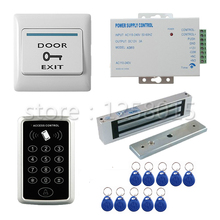 Strong 125KHz RFID Black Controller Access Control Kit for 1 door control+180kg magnetic lock+door switch+power+10 key fob